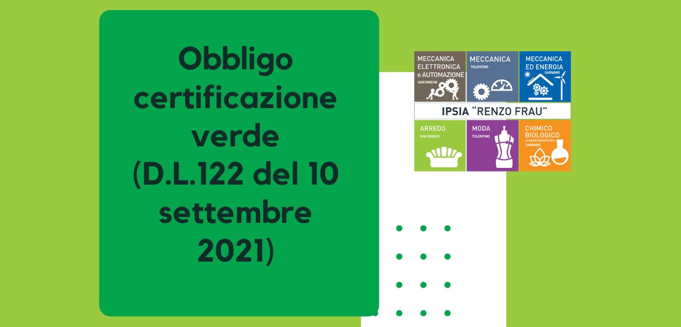 Obbligo certificazione verde